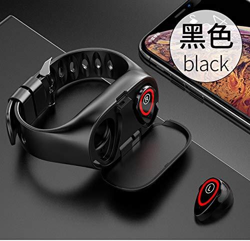 ETbotu 2 in 1 Smartwatch headset, armband voor sporthorloge, draadloos, 2-in-1, Lemfo M1, zwart.