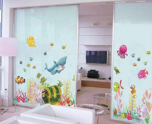 WandSticker4U- Pegatina Pared Mundo Submarino baúl del tesoro, multicolor | peces tiburón Mar Océano Acuario | adhesivo decorativo para habitación infantil niños sala de baño cuarto de baño