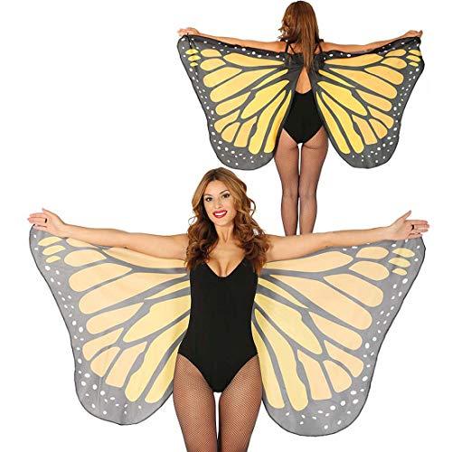 NET TOYS Extraordinarias alas de Mariposa para Dama - 170x80cm - Fabuloso Accesorio Disfraz para Mujer Cosplay alas de Elfo Festival y Fiesta de Disfraces
