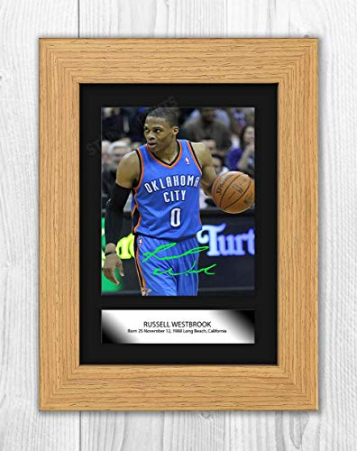 Engravia Digital Russell Westbrook NBA Oklahoma City Thunder Reproduction Autograph Poster Photo A4 Print(Oak Frame)