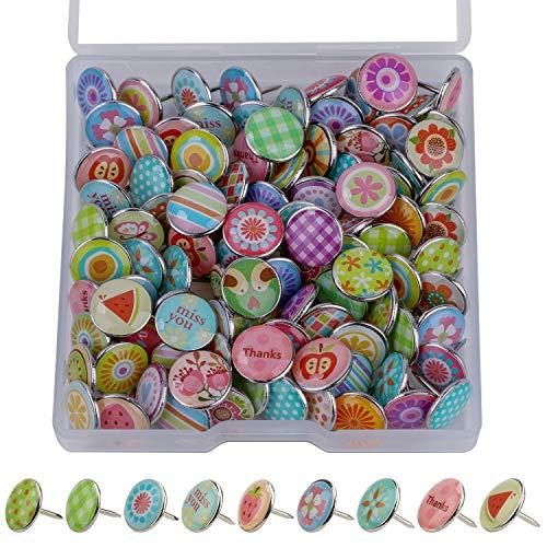 MWOOT 100 Stücke Dekorative Reißzwecke, Mode Stecknadeln Metall Push Pins für Weltkarte, Karte, Cork Board, Stoffmarkierung (Stil B)