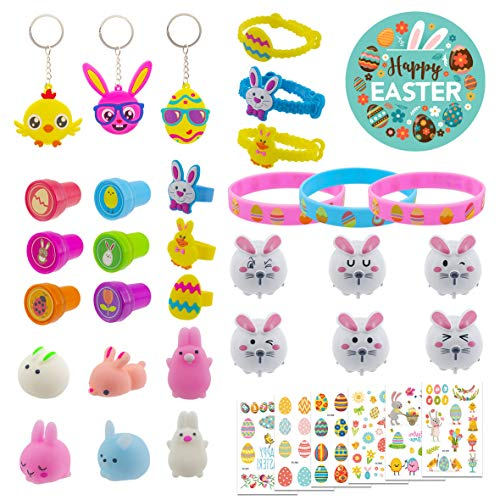 36 Pack Easter Party Favors Toy, Cute Rabbit, Chick, Egg Toy Used for Fill Easter Eggs, Easter Theme Toys, Tattoo Stickers for Carnival Prizes, School Classroom Rewards, Treasure Box
