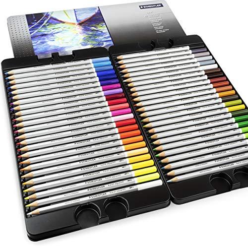 Staedtler Karat Aquarell Bleistifte, professionelle Aquarellstifte, Metalldose, 48 verschiedene Farben