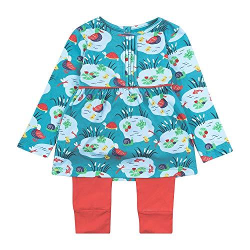 Tenue de vêtement 2 pièces pour filles, jersey biologique doux, motif étang bleu aqua jusqu'à 3 ans - Bleu - 2 mois