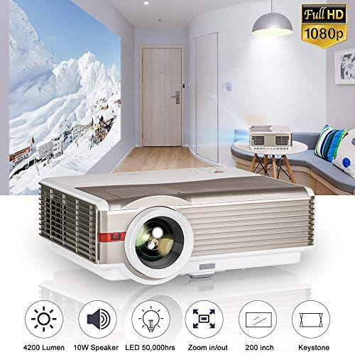 Native 1080P Movie Projector with 5500 Lumen 55000 Hrs LED Life Zoom Function, Full HD Video Projector Compatible with iPhone, Android, PC, TV Box,...