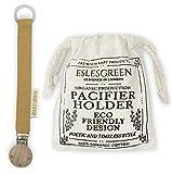 ESLESGREEN Chupetero en algodón y madera con bolsa de regalo - Regalo recién nacido (MUSTARD)