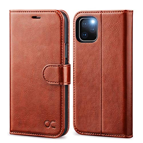 OCASE iPhone 11 Pro Hülle Handyhülle [Premium Leder] [Standfunktion] [Kartenfach] [Magnetverschluss] Tasche Flip Hülle Etui Schutzhülle Schlanke Leder flip case für iPhone 11 Pro Cover Braun