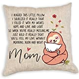 VILIGHT Mom's Throw Pillow Covers 18x18 - Funny Mother's Birthday Gifts from Daughter Son - Sloth Decorative Square Couch Pillow Cases