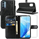 OnePlus Nord N200 5G Case, OnePlus Nord N200 Wallet Case, with Screen Protector,PU Leather Wrist Strap Card Slots Shockproof Protective Flip Cover Phone Case for 1+ Nord N200 5G,Black