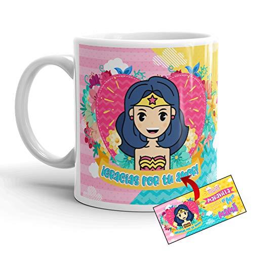 Kembilove Taza Madre – Taza Desayuno Regalos para Mamá Te Amo Mamá – Regalos Originales para Madres – Regalo para el Día de la Madre con Mensaje Mujer Maravilla – Diferentes Diseños Originales
