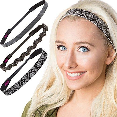 Hipsy Cute Fashion Adjustable No Slip Hairband Headbands for Women Girls & Teens (Running Black Headband 3pk)