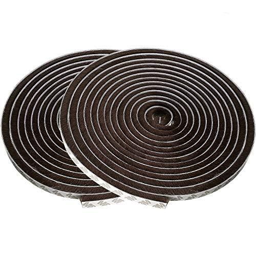 ZWOOS Autoadhesivo Burlete Adhesivo con Cepillo para Puertas y Ventanas, 2pc Marrón Soundproof Seal Strip Espacios de 4.5 mm - 7.5 mm (2 * 5M)