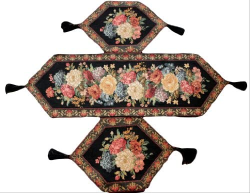 Tache 3 Piece Festive Floral Tapestry Woven Decorative Red Lavish Yuletide Bouquet Romantic Placemat and Table Runner Set for Two - 5598