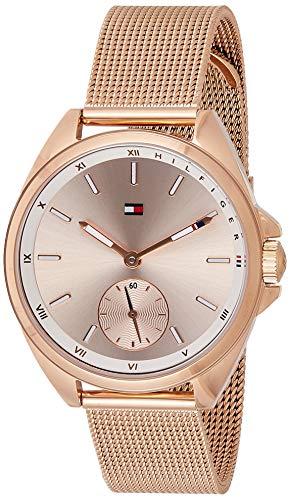 Tommy Hilfiger Damen Analog Quarz Uhr mit Edelstahl beschichtet Armband 1781756