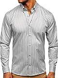 BOLF Hombre Camisa De Manga Larga Cuello Italiano Camisa de Algodón Slim fit Estilo Casual 20726 Gris XL [2B2]