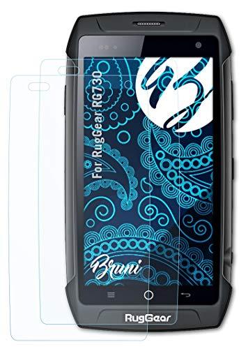 Bruni Schutzfolie kompatibel mit RugGear RG730 Folie, glasklare Bildschirmschutzfolie (2X)