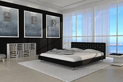 SIX Polsterbett Doppelbett Lederbett Adonia Bett Betten Kunstleder 180 x 200 Schwarz
