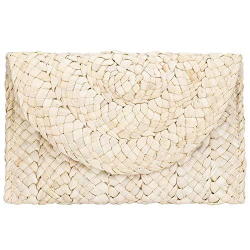 Bolso de embrague de paja para mujer, bolso de ratán tejido de verano