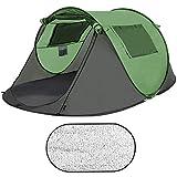 Sportout Pop Up Zelt, Ultraleichte 3 bis 5 Personen Camp Wurfzelt, Doppeltür mit Netz, Großer Raum Leichtes wasserdichtes Zelt, UV-beständiges Foyer Faltbare Outdoor-Campausrüstung Campingzelt