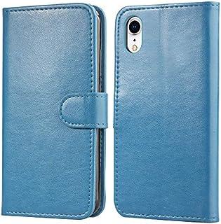 Happon iPhone Xr 財布 カード ホルダー プレミアム 電話ケース フォリオ PU レザー カバー ?と 電話ケース シェル の iPhone Xr-Blue