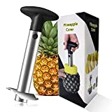 Stainless Steel Pineapple Cutter With Sharp Built-in Blade & Detachable Handle - Heavy-Duty Pineapple Corer For Easy Coring & Ring Slices (Black)