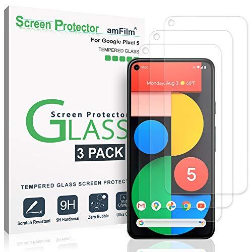 amFilm Pixel 5 Panzerglas Schutzfolie (3 Stück), Hüllenfreundliche (Einfache Installation) Glas Displayschutzfolie für Google Pixel 5 (2020)