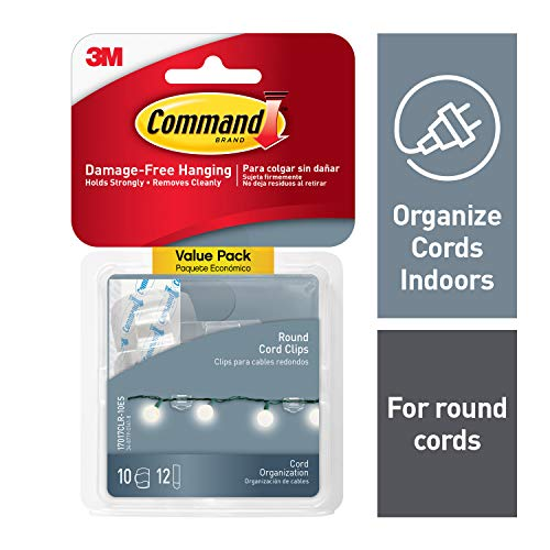 Command 17017CLR-VP Round Cord Clip, 10 Clips, Clear, 10 Clips
