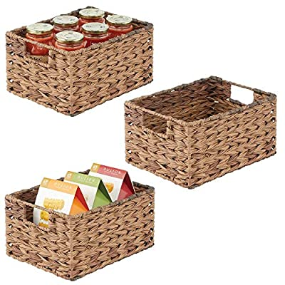 mDesign Woven Ombre Pantry Bin Basket, 3 Pack by