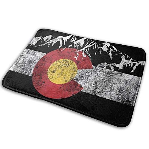Zerbino per ingresso con bandiera del Colorado vintage montagna tappetino da bagno per la casa, antiscivolo, per ufficio, cucina, bagno, 80 x 50 cm