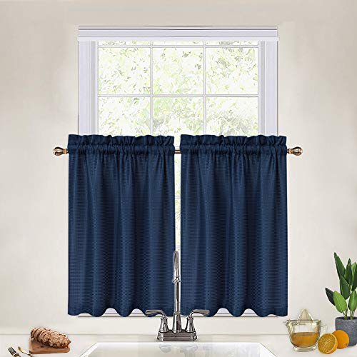 Tier Curtains for Kitchen Navy Blue, Waffle Woven Textured Bathroom Window Curtains Cafe Kitchen Curtains 36 Inch, 1 Pair