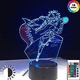 KangYD Dibujos animados de luz nocturna 3D Naruto Ninja, lámpara de ilusión óptica LED, B - Base negra remota (16 colores), Lámpara de noche, Lámpara Novedad, Regalo de la suerte