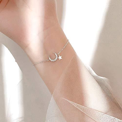 yitao Pulsera chapada en plata para novia, con circonita, estrella de la luna, pulsera romántica, regalo de cumpleaños para mujer