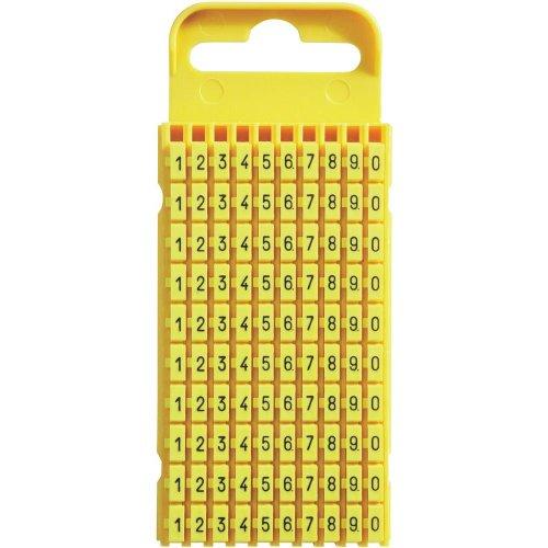 WIC® Kennzeichnungsclip Kennzeichnungsmarkierer für Kabel Aufdruck 0 - 9 Größe 3 Farbe Gelb 100 Stück