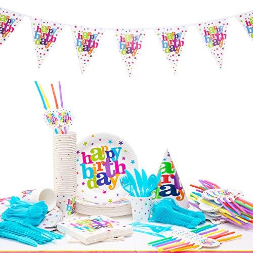 Kingmate 102-Teiliges Geburtstagsset Alles Gute zum Party Set für 20 Personen Geburtstagsdeko Tischdeko, Pappteller, Pappbecher, Servietten, Geburtstag Augenklappen, Tischdecke.