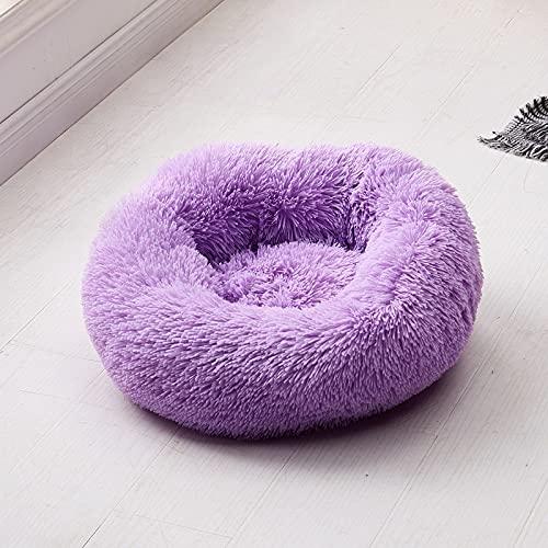 Tivivose Long Plush Super Soft Dog Bed Pet Kennel Round Sleeping Bag Lounger Cat House Winter Warm Sofa Basket for Small Medium Large Dog (Color : 13, Size : M Diameter 60cm)