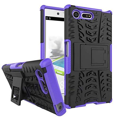Smfu Funda Compatible Sony Xperia X Mini/X Compact Carcasa Rugged Híbrido Resistente Absorción Anti-arañazos Funda Absorción Impactos con Pie De Apoyo Caja [con Mica 2Unidades]-Púrpura