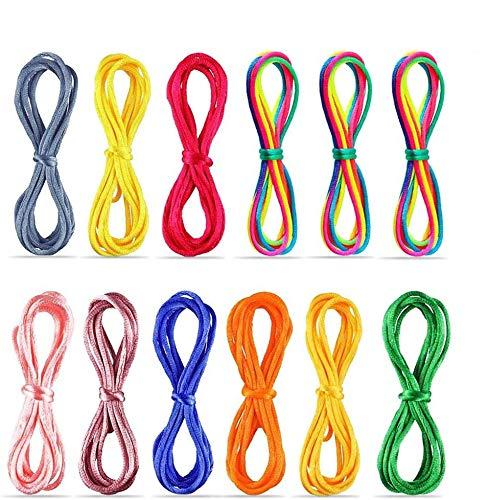 faburo 12pcs Corde à Doigts,Jeu de Ficelle Rainbow Rope,Cats Cradle Corde,Inspirer des Jouets créatifs