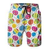 Azfaiop Happy Easter Eggs Men's Swim Trunks Quick Dry Beach Swim Shorts with Mesh Liner M