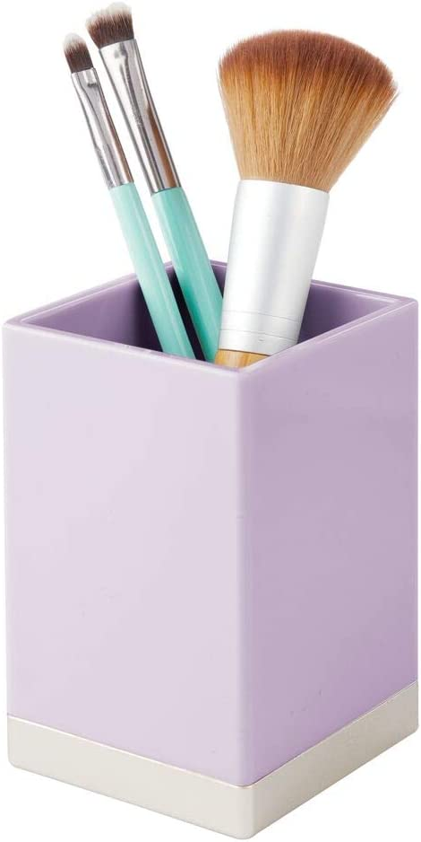 mDesign Set of 2 Bathroom Toothbrush Holder /— Toothbrush Cup for Storing Makeup Brushes Accessories and More /— Ideal Storage Option for Bathroom Accessories /— Light Purple//Chrome Toothpaste