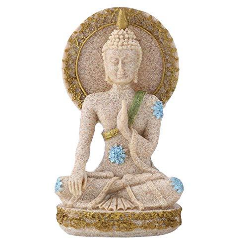 Betende Buddha-Statue, Fengshui-Sandstein-Buddha-Statue Meditierender Buddha Gelassene dekorative Figur für Home Office Tabletop Yoga Zen-Dekor
