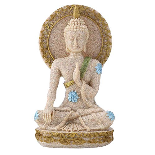 Sitting Buddha Statue Resin Feng Shui Sandstone Buddha Meditating Praying Buddha Statue Idol Rustic Yoga Sculpture Home Hotel Decoration Ornament Gift