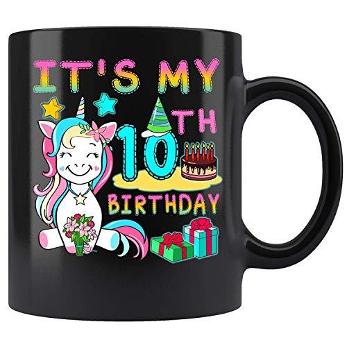 N\A 10 Jahre alt 10. Geburtstag Einhorn Mädchen Tochter GIF Kaffeetasse 11oz Teetassen