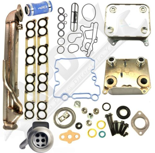 APDTY 015373 & 015339 Engine Oil & EGR Gas Cooler Kit Includes Turbo & Intake Manifold Gaskets Fits 2004-2010 Ford 6.0L Diesel (Upgraded Straight Stainless Steel Tube Design Prevents Clogging)