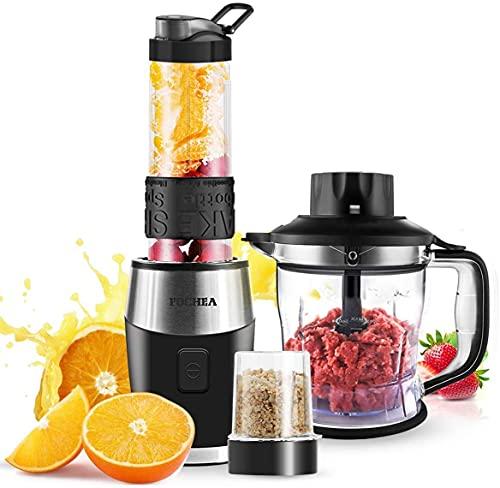 Mixer Smoothie Maker, FOCHEA 700 Watt Standmixer Smoothie Mixer, Multifunktion Smoothiemaker + Fleisch Zerkleinerer/Ice Crusher + Kaffeemühle mit 570ml Sport-Flasche BPA frei Tritan