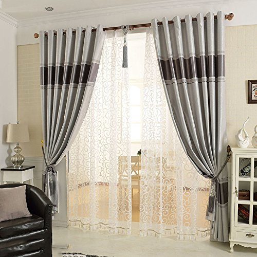 Wondrous European Style Simple And Modern Jacquard Curtain Cloth Shading Insulation Living Room Bedroom Bay Window Floor To Ceiling Windows Curtain Creativecarmelina Interior Chair Design Creativecarmelinacom