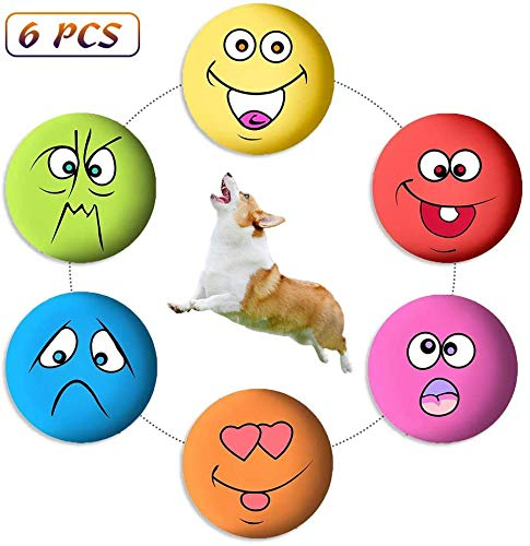 Magjump Dog Squeaky Toys, Latex Dog Chewing Toys, Non-Toxic Rubber Fetch Balls Puppy Toys Gifts, Teething Toys Squeaky Balls for Pets Dog Cat 6PCS