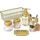 Premium Mason Jar Bathroom Accessories Set (6PCS) - Lotion Soap Dispenser,Toothbrush Holder,2 Apothecary Jars, Soap Dish Tray,Storage Organizer Basket Bin - Rustic Farmhouse Home Decor (Gold)
