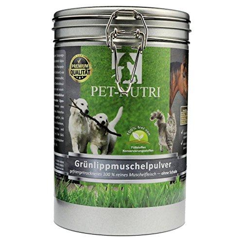 PET-NUTRI Grünlippmuschel Pulver 100% reines Grünlippmuschelpulver für Katze, Hund, Pferd