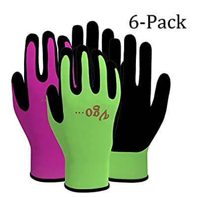 Vgo… Foam Rubber Coating Gardening and Work Gloves(6-Pairs)(Color Green,Purple)