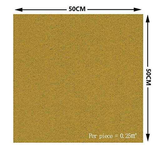 Cuadrados De Losetas De Moqueta, Empalme de alfombras, Paquete de Azulejos Alfombras Autoadhesivas de Fieltro, para Moqueta Hogar Oficina Decoración del Hogar (1m²,yellow)